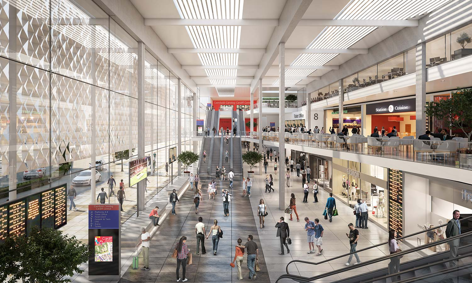Inside of Train Station 3D Architectural Visualisation CGI